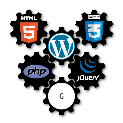 Gears containing WordPress, Genesis Framework, HTML5, CSS3, PHP and jQuery logos. These 6 gears are connected with each other, illustrating the web developer skills that allow me to provide you with a custom made website.